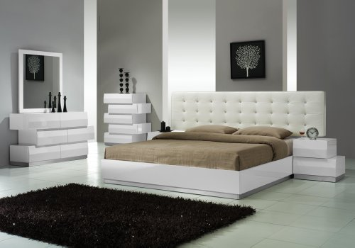 J&M Furniture Milan White Lacquer With White Leatherette Headboard Bedroom Set - King Size