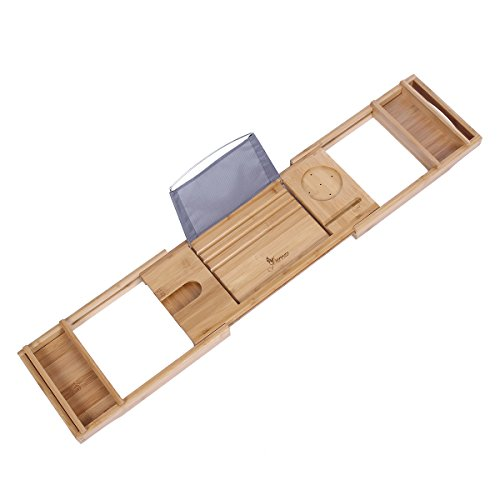 romatlink Luxury Bathtub Caddy with Candle & Book Wood Tub Shower Organizer Tray, Tablet Wine Glass Holder Extending Sides, Bathroom Accessories Storage, Fits All Batht, Large, Natural Bamboo