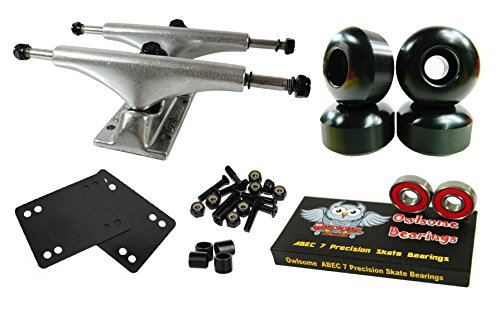 (Owlsome 5.25 Polished Aluminum Skateboard Trucks w/52mm Wheels Combo Set (Black))
