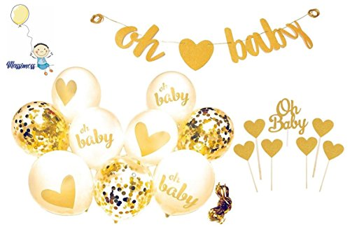 Baby Shower Decorations Gold Banner [Oh Baby] Confetti, Gold, White Balloons with Ribbon Neutral Decor Party Supplies Gender Reveal Pregnancy Announcement with Extra 7 pc Cake Topper. -