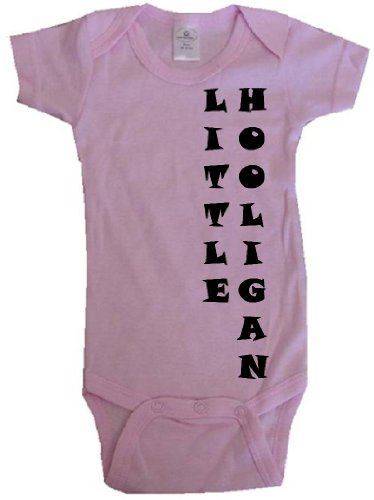 LITTLE HOOLIGAN - SidePrint - BigBoyMusic Baby Designs - Pink Baby One Piece Bodysuit - size Small (Hooligan One Piece)