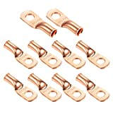 """Ampper Heavy Duty Copper Wire Lugs, UL Eyelets Ring Crimp Copper Terminal Connectors for Battery Cable Ends and More (1/0 Awg, 5/16"""" Ring, 10 Pcs)"""