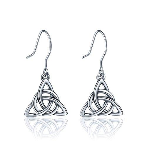 Celtic Earrings Claddagh (AEONSLOVE Women 925 Sterling Silver Irish Triquetra Celtic Knot Claddagh Vintage Drop Dangle Earrings)