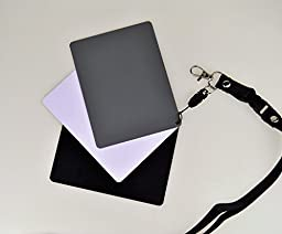 Studio-98 Extra Large Size Set of 3 Grey White Black Cards 4 inch x 5 inch 18% Gray White Balance Card for Digital and Film Photography Color Correction Light Block with Lanyard