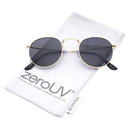 zeroUV - Classic Full Metal Frame Slim Temple Round Sunglasses 45mm (Gold/Smoke) Black Temple Frame