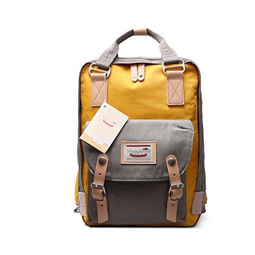 ANONE Water Resistant Durable School Rucksack Travel Backpack 15Inch (Grey-Yellow)
