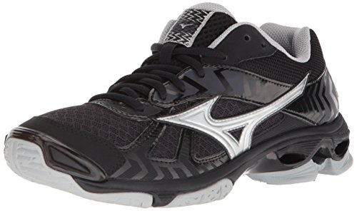 Mizuno Wave Bolt 7 Volleyball Shoes, Black/Silver Women's 9.5 B US