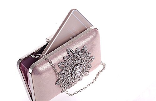 Pink Bag Women Purse Crystal Clutches Pink Sunflower For with and PU Diamond Evening Handbag Rhinestone qSTwxY