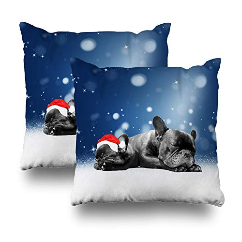Pillow Santa Bulldogs (Darkchocl Set of 2 Daily Decoration Throw Pillow Covers Christmas French Bulldog Puppies Snow Santa Hat Square Pillowcase Cushion Couch Sofa Bed Modern Design Cotton Polyester 18