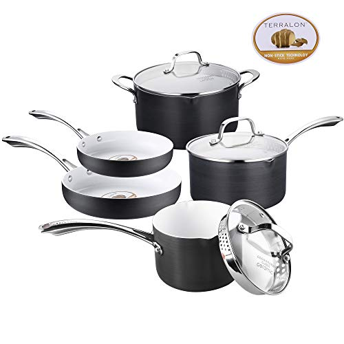 Pots and Pans Set AMERICOOK Black, Hard Anodized Cookware Set - 8 Piece - White Ceramic Nonstick, Aluminium Saucepans with Sturdy Glass Lids, Straining Lids and Pour Spouts and Stainless steel Handles (Best Cookware For Ceramic Hobs)