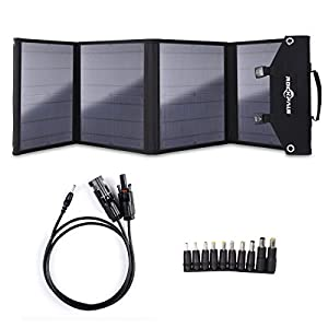 ROCKPALS Foldable 60W Solar Panel Charger for Suaoki/Jackery Explorer 240 / Webetop/Goal Zero Yeti/Paxcess Portable Power Station Generator and USB Devices, QC3.0 USB Ports