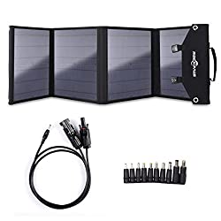 Rockpals Foldable 60W Solar Panel Charger for Suaoki/Webetop/Jackery Explorer 240 Portable Generator/Goal Zero Yeti Power Station/Paxcess Battery Pack/USB Devices, QC3.0 USB Ports