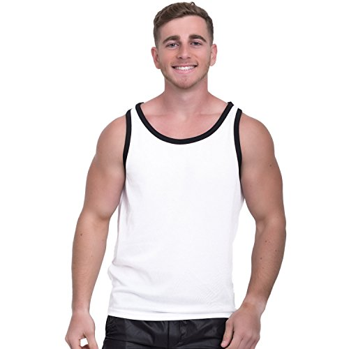 Taddlee Tank Top Men Bodybuilding Undershirts Solid Tshirt Sleeveless Muscle Gym (S, White) by Taddlee