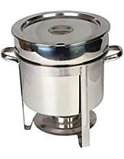 Stainless Steel Food Warmer Round Soup Pot, Chafing Dish Buffet Set with Water Pan, Chafer, Frame, Fuel Holder and Lid for Parties(Three Capacities),4L