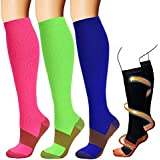 Copper Compression Socks For Men & Women(3 Pairs)-Best For Running,Athletic,Medical,Pregnancy and Travel -15-20mmHg(Multicoloured-L)
