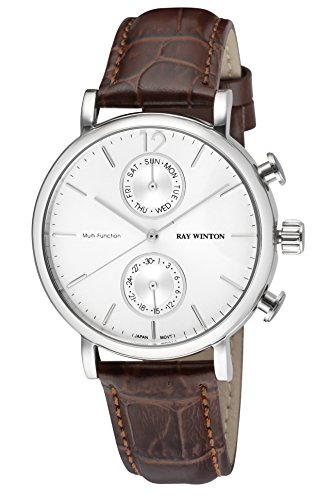 Ray Winton Men's WI0601 Multi-Function Silver Dial Brown Genuine Leather Strap (Embossed Dial Watch)