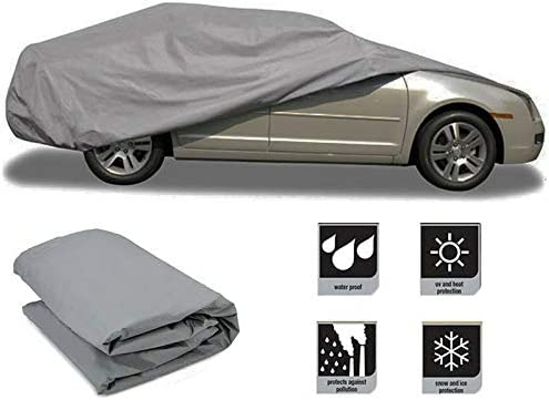 Pickup Trucks SUV INTBUYING M Size Outdoor/PEVA Full Car Cover UV Snow Dust Rain Resistant Protection Waterproof Windproof Scratch Resistant/All Weather Fits CAR Van