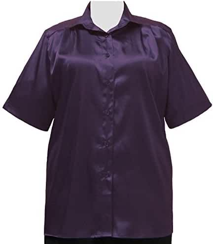 Aubergine Crepe Back Satin Short Sleeve Tunic Plus Size Woman's Blouse
