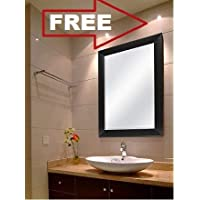 Creative Arts N Frame Sober Black Fiber Wood Wall Mirror    Size - 15 X 21 Inch    Solid Black Water Resistant Synthetic Fiber Wood Made   