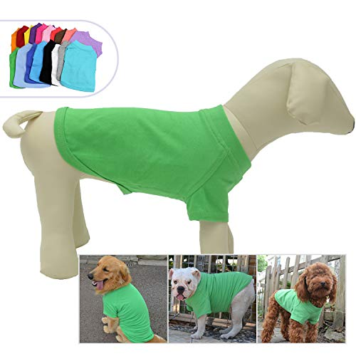 Lovelonglong 2019 Pet Clothing Dog Costumes Basic Blank T-Shirt Tee Shirts for Small Dogs Green S