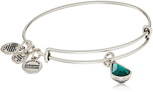 Alex and Ani May Birth Month Charm with Swarovski Crystal Rafaelian Silver Bangle Bracelet (May Emerald Crystal)