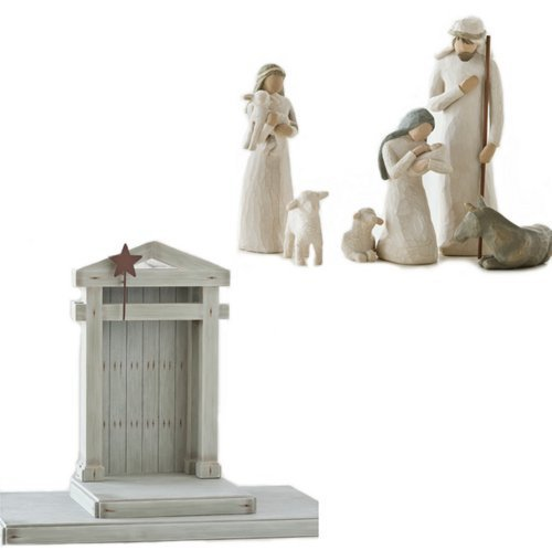 (Willow Tree Nativity Set 7 piece: Includes 6 figurines and Creche)