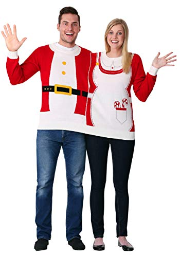 Two Person Mr. & Mrs. Claus Ugly Christmas Sweater Medium -