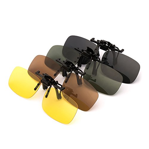 Punasi 4-Pack Polarized Clip-on Plastic Sunglasses Lenses for Outdoor Walking Driving Fishing Cycling - (Night Vision Yellow + Grey + Dark Brown + Dark Green) - (Medium Size)