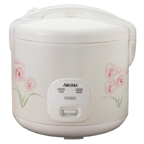 Aroma Housewares 20-Cup (Cooked) (10-Cup UNCOOKED) Cool Touch Rice Cooker and Food Steamer with Flowers Design (ARC-1260F)