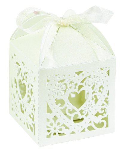 Hortense B. Hewitt Wedding Accessories 2-Inch Die Cut Decorative Favor Boxes, 25 Count, Ivory