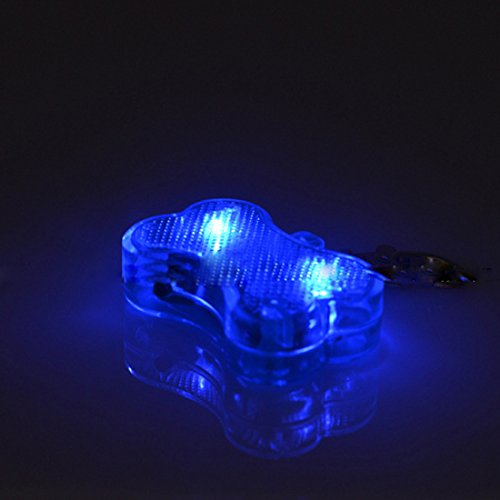 MR.Jiang Dog Bone LED Flashing Pet Dog Blink Light Tag Collar Cute Safety Durable ()