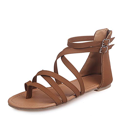 Sandals for Women,St.Dona Summer Fashion Casual Rome Solid Open Toe Beach Sandals Zip Flat with Shoes Rome Single Shoes Brown
