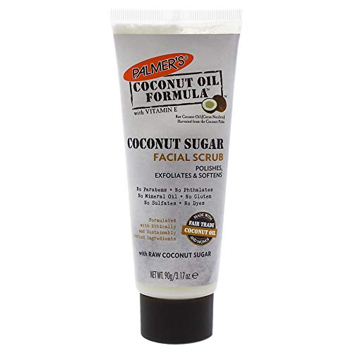 Palmer's Coconut Oil Formula, Sugar Facial Scrub Exfoliator | polishes & Softens | Squeeze Tube 3.17 Oz