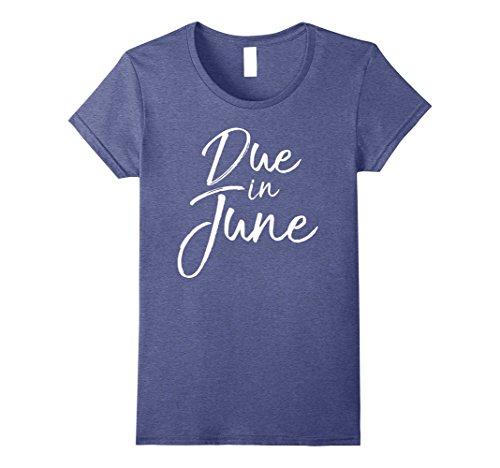(Womens Due in June Shirt Fun Cute Pregnancy Announcement Tee Large Heather)