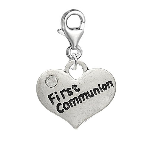 SEXY SPARKLES 2 Sided First Communion Heart Clip on Pendant Charm for Bracelet or Necklace