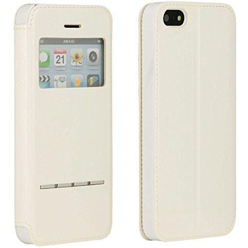 Bookstyle Flip Case für Apple iPhone 4 / iPhone 4S / View Windows / Standfunktion / Metall Streifen Touch / Schutzhülle in Weiß