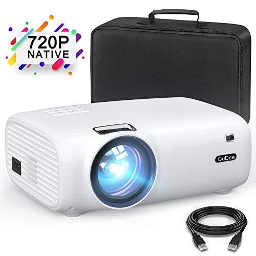 GuDee Mini Projector, Portable Video Projector, 4000 Lux Full HD 1080P Projector, 200″ Display Supported, 50000 Hrs Home Movie Projector for Laptop/MAC/DVD/TV/Xbox/Games/Phone with HDMI/VGA/USB/AV