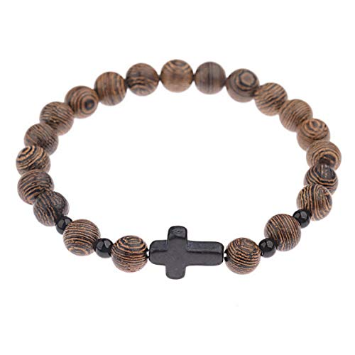 (Werrox Fashion Charm 8mm Wood Beads Leopard Head Cross Energy Yoga Reiki Men Bracelets | Model BRCLT - 3454 |)