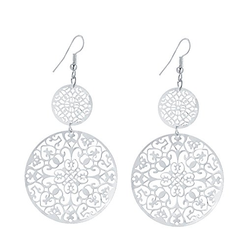 (IDB Delicate Filigree Dangle Double Circle Drop Hook Earrings - Available in Silver and Gold Tones (Silver Tone))