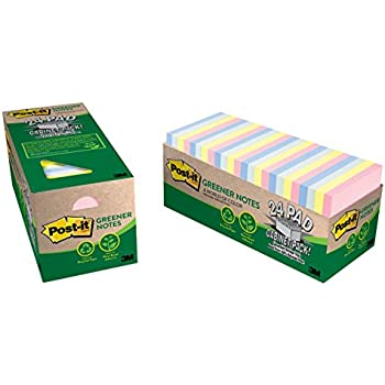 Post-it Greener Notes, 3 in x 3 in, Helsinki Collection, 24 Pads/Cabinet Pack (654R-24CP-AP)