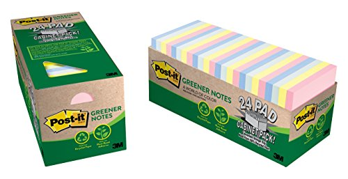 Post-it Greener Notes, 3 in x 3 in, Helsinki Collection, 24 Pads/Cabinet Pack - Ap Collection