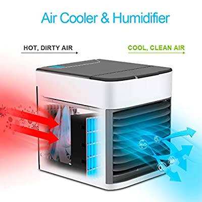 AYCEAN Mini Air Conditioner, Evaporative Air Cooler Personal Cooling Fan/USB Portable Air Conditioner Desk Cooler Air Ice Fan Ultra Humidifier with 6 Speeds & 7 Color Lights?for Office Home Room