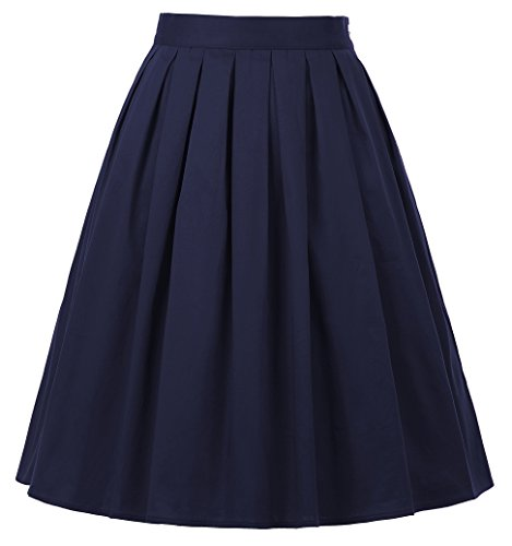 Pleated Skirt Vintage Style A Line Navy Blue Size XL CL6294-21