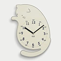 BEZIT Non-Ticking, Silent 11-Inch Wall Clock – Decorative, Modern, Clean, Cute, Kid-Friendly Design for Indoor, Office, Home, Baby Room (Playful Kitten)