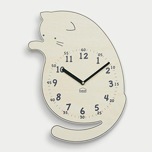- BEZIT Non-Ticking, Silent 11-Inch Wall Clock - Decorative, Modern, Clean, Cute, Kid-Friendly Design for Indoor, Office, Home, Baby Room (Playful Kitten)