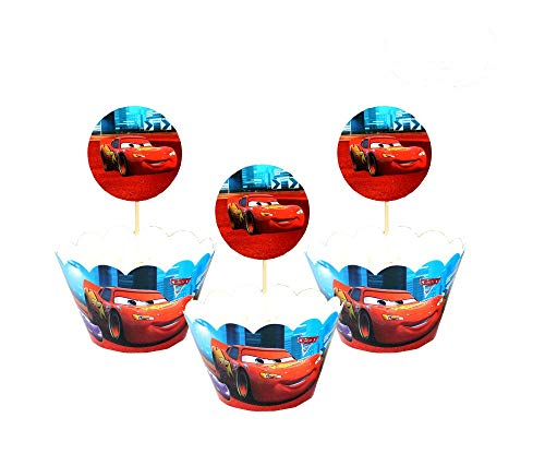 Cars Themed Cupcake Toppers Cupcake Toppers+ Wrappers Party Pack for 12 Cupcakes ()