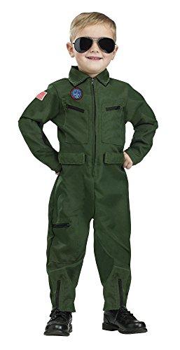 [Fun World Costumes Baby Boy's Topgun Aviator Toddler Costume, Green, Large] (Pilot Costume Boy)