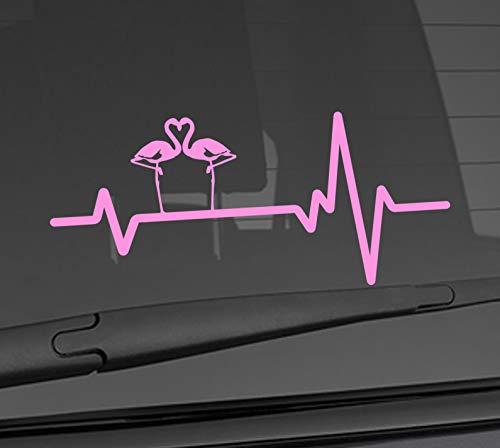 Heart Beat Line Heartbeat ANIMAL FLAMINGO Flamingoes Silhouette Love Car Vinyl Sticker Wall Decal 3.75