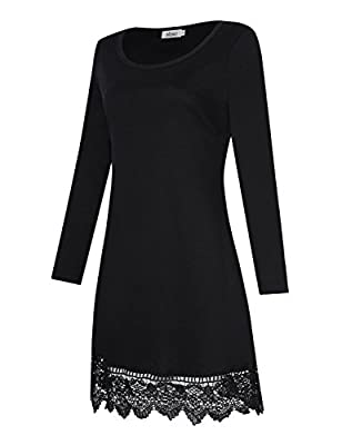 MISSKY Women Floral Lace Stitching A-line Long Sleeve Loose Causal Knee Length Dress