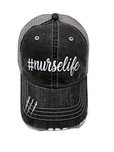 Spirit Caps New!! White Glitter #NurseLife Distressed Look Grey Trucker Cap Hat Fashion